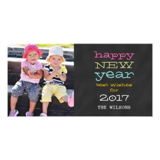 Chalkboard Happy New Year 2017 Holiday Photo Card