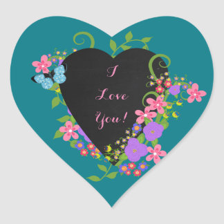 Chalkboard Heart and Flowers, Cute Heart Stickers
