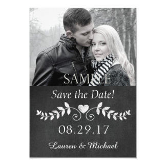 Chalkboard Heart Save the Date Wedding Magnetic Card