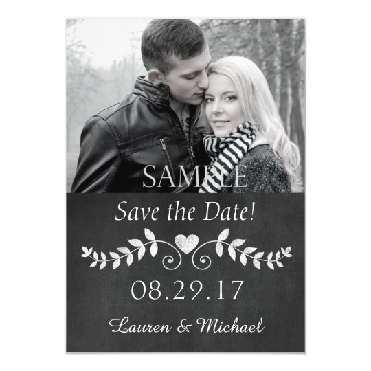 Chalkboard Heart Save the Date Wedding Magnetic Invitations