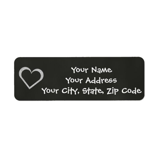 Chalkboard Heart Wedding Address Label