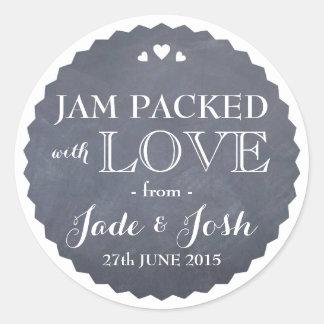Chalkboard Hearts Wedding Favor Jar Round Sticker