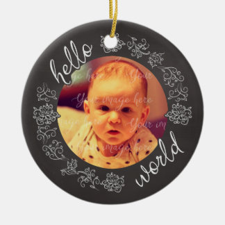 Chalkboard Hello Baby's First Personalized Ceramic Ornament