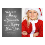 Chalkboard Holiday Photo Christmas Wishes Coral