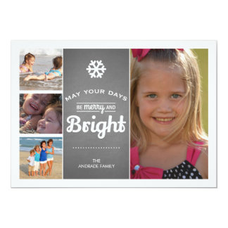 Chalkboard Holiday Photo Merry Bright Christmas Card