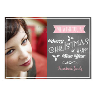 "Chalkboard Holiday Photo Pink Christmas Wishes 5"" X 7"" Invitation Card"