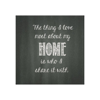 Chalkboard Home Wall Canvas Stretched Canvas Print
