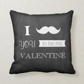 Chalkboard I Mustache You To Be My Valentine Throw Pillow
