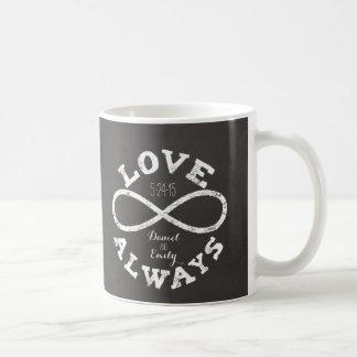 Chalkboard Infinity Love Wedding Date and Names Classic White Coffee Mug