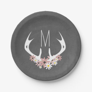 Chalkboard Inspired Floral Antlers Monogram 7 Inch Paper Plate