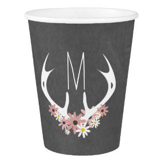 Chalkboard Inspired Floral Monogram Antlers Cups Paper Cup