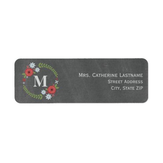 Chalkboard Inspired Floral Wreath Monogram Return Address Label