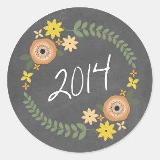 Chalkboard Inspired Orange Floral Wreath 2014 Grad Round Sticker