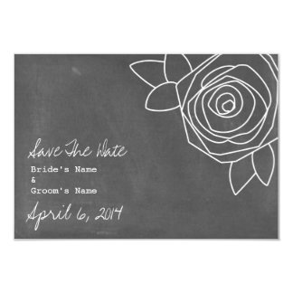 Chalkboard Inspired Rose Wedding Save The Date 3.5x5 Paper Invitation Card