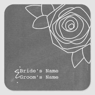 Chalkboard Inspired Rose Wedding Sticker
