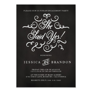 Chalkboard Invitation Engagement Party Invitation