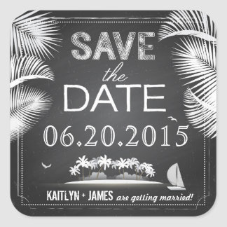 Chalkboard Island Destination Save the Date Label