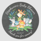 Chalkboard Jungle Animal Baby Shower Favour Classic Round Sticker