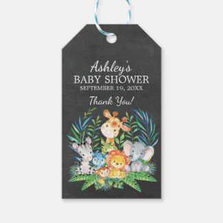 Chalkboard Jungle Baby Shower Favor Gift Tag