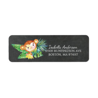 Chalkboard Jungle Monkey Baby Shower Address Label