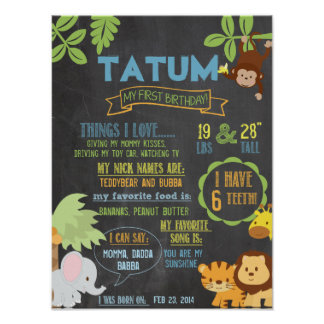 Chalkboard Jungle Party personalized 1 year poster