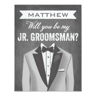 "Chalkboard Junior Groomsman | Groomsman 4.25"" X 5.5"" Invitation Card"