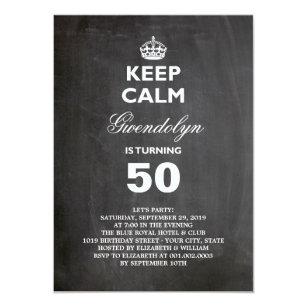 Funny adult birthday invitations announcements zazzle ca chalkboard keep calm funny 50th birthday invite filmwisefo