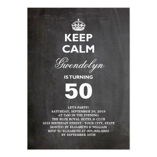 Chalkboard Keep Calm Funny 50th Birthday Party Personalized Invitation