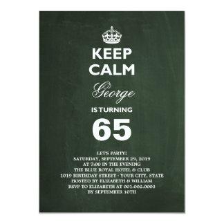 "Chalkboard Keep Calm Funny 65th Birthday Party 4.5"" X 6.25"" Invitation Card"