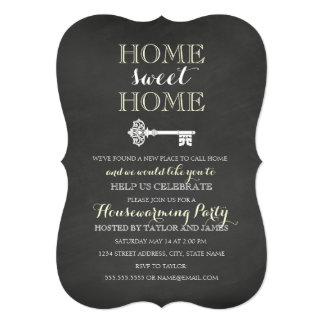 Chalkboard Key Housewarming Invitation