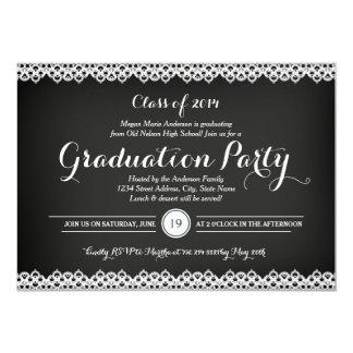 Chalkboard & Lace Graduation Party Invitation