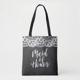Chalkboard Lace Maid of Honor Wedding Party Tote