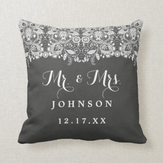Chalkboard Lace Mr. and Mrs. Wedding Pillow