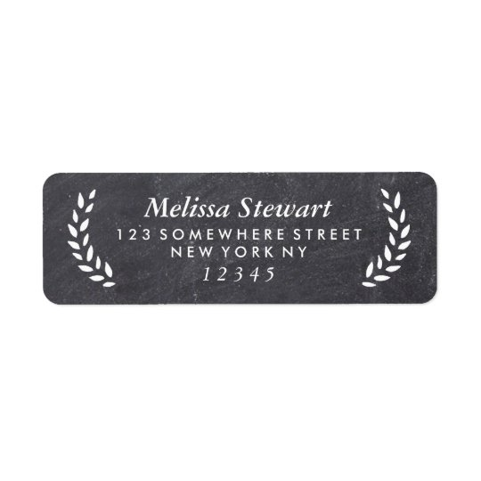 Chalkboard Laurel Wreath Return Address Label