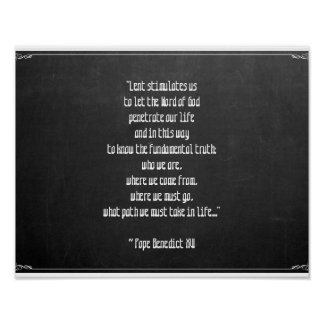 Chalkboard Lent Meaning Pope Benedict XVI Easter Poster