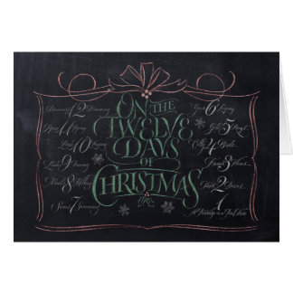 Chalkboard Lettering '12 Days of Christmas' Card