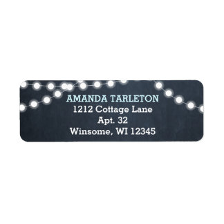 Chalkboard Lights Aqua Personalized Return Address Label