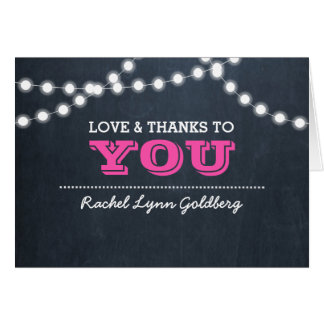 Chalkboard Lights Dark Pink Bat Mitzvah Thank You Card