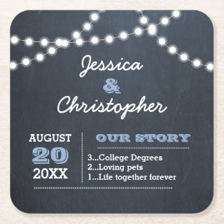 Chalkboard Lights Light Blue Personalized Wedding Square Paper Coaster