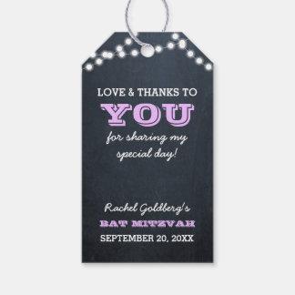 Chalkboard Lights Lilac Bat Mitzvah Thank You Gift Tags