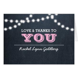 Chalkboard Lights Pink Bat Mitzvah Thank You Note Card
