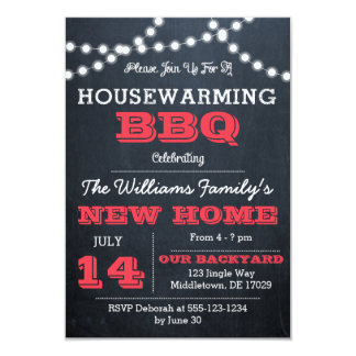 Chalkboard Lights Red Housewarming Invitations