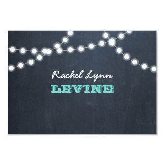 Chalkboard Lights Teal Bat Mitzvah Note Card