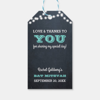 Chalkboard Lights Teal Bat Mitzvah Thank You Gift Tags