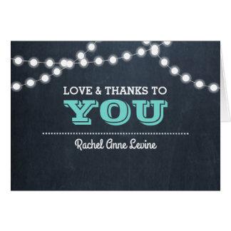 Chalkboard Lights Teal Bat Mitzvah Thank You Note Card