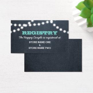 Chalkboard Lights Teal Bridal Wedding Registry Business Card