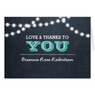 Chalkboard Lights Teal Confirmation Thank You Note Card
