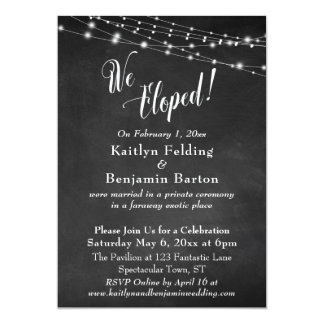 Chalkboard Lights We Eloped Wedding Reception Card