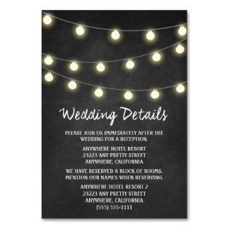 Chalkboard + Lights Wedding Reception Insert Cards