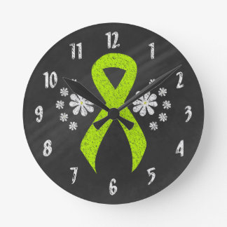 Chalkboard Lime Green Ribbon Round Clock